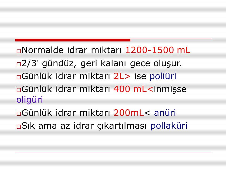  Normalde idrar miktarı 1200-1500 mL  2/3' gündüz, geri kalanı gece oluşur.  Günlük idrar miktarı 2L> ise poliüri  Günlük idrar miktarı 400 mL<inm
