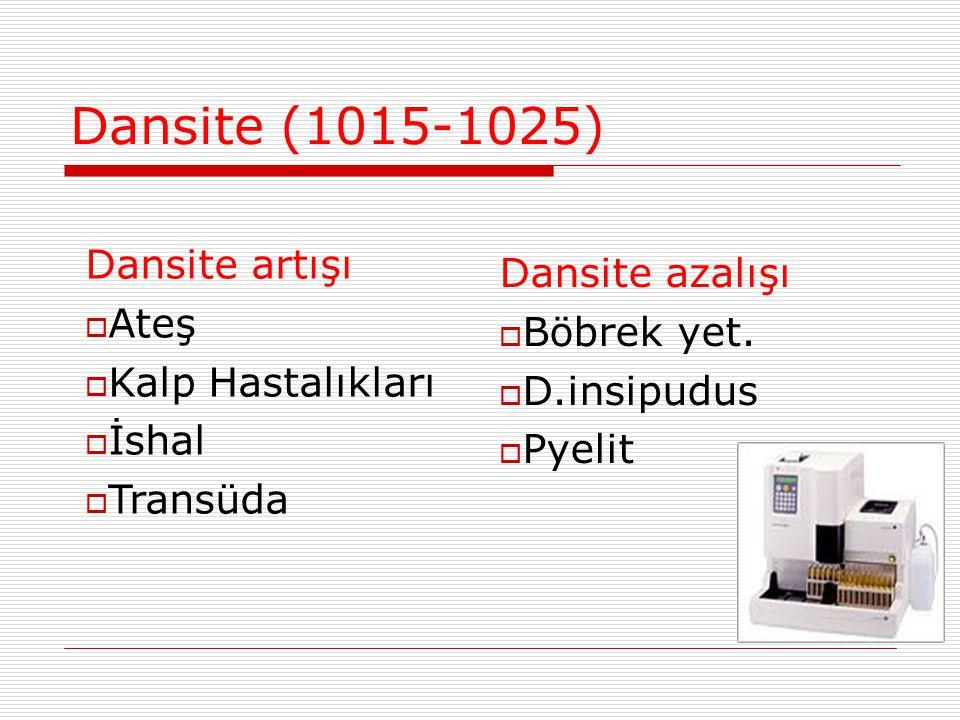 Dansite (1015-1025) Dansite artışı  Ateş  Kalp Hastalıkları  İshal  Transüda Dansite azalışı  Böbrek yet.  D.insipudus  Pyelit