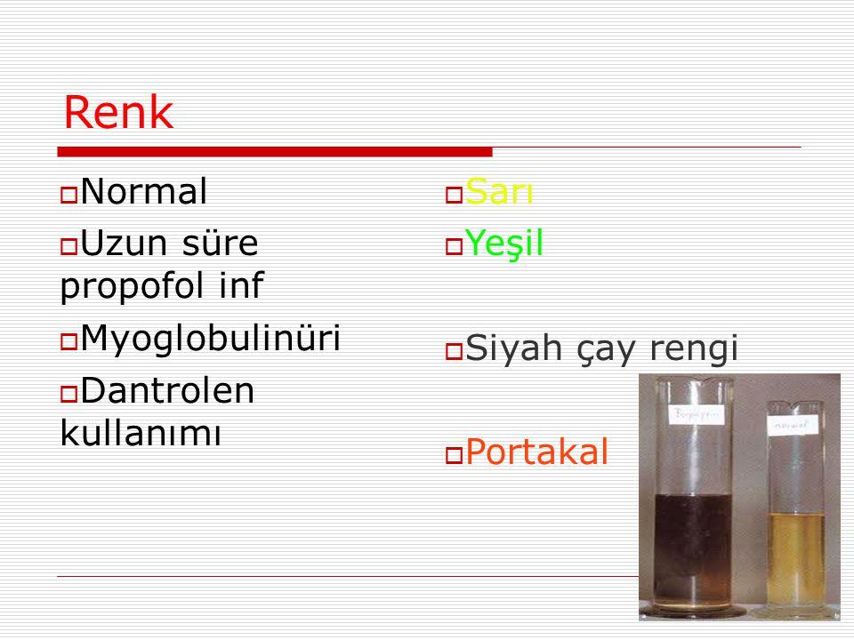 Renk  Normal  Uzun süre propofol inf  Myoglobulinüri  Dantrolen kullanımı  Sarı  Yeşil  Siyah çay rengi  Portakal