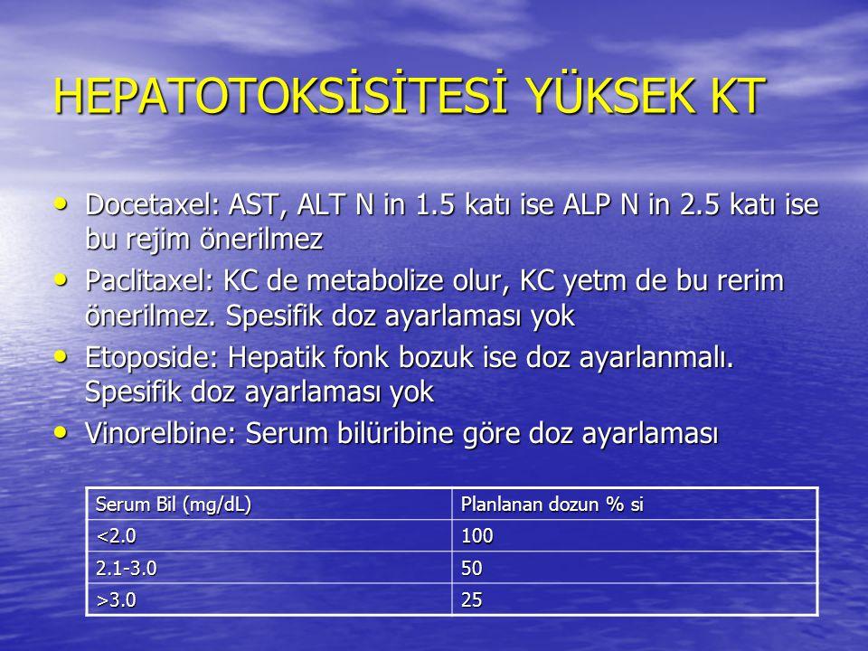 HEPATOTOKSİSİTESİ YÜKSEK KT Docetaxel: AST, ALT N in 1.5 katı ise ALP N in 2.5 katı ise bu rejim önerilmez Docetaxel: AST, ALT N in 1.5 katı ise ALP N