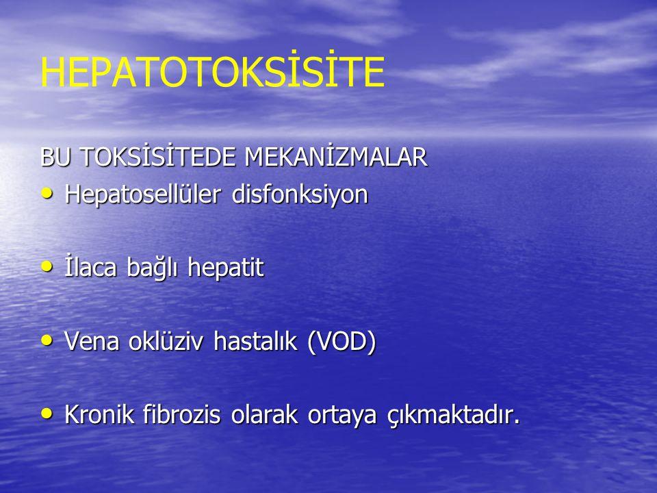 HEPATOTOKSİSİTE BU TOKSİSİTEDE MEKANİZMALAR Hepatosellüler disfonksiyon Hepatosellüler disfonksiyon İlaca bağlı hepatit İlaca bağlı hepatit Vena oklüz