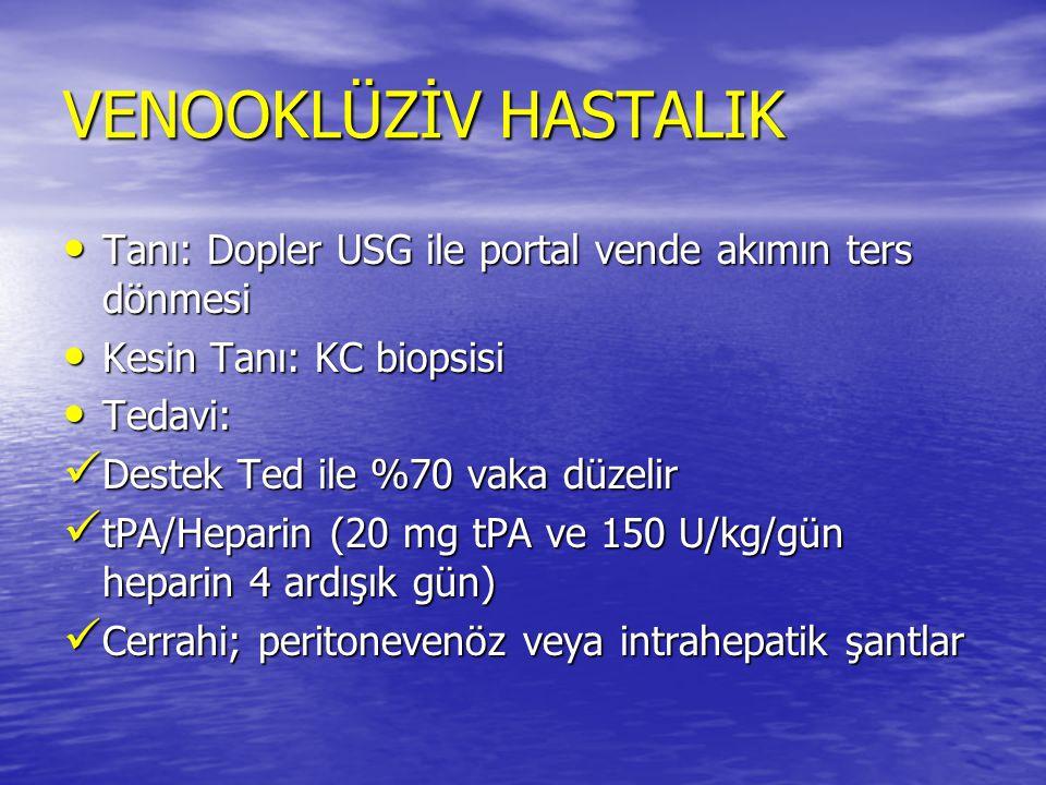 Tanı: Dopler USG ile portal vende akımın ters dönmesi Tanı: Dopler USG ile portal vende akımın ters dönmesi Kesin Tanı: KC biopsisi Kesin Tanı: KC bio