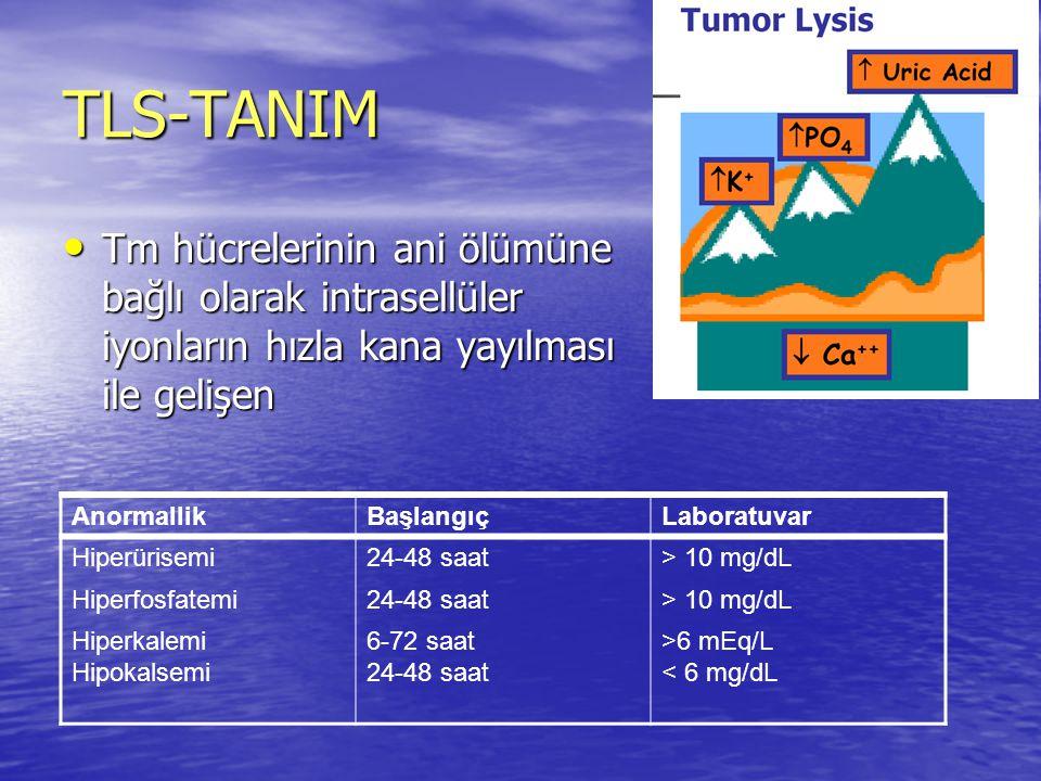 TLS-TANIM Tm hücrelerinin ani ölümüne bağlı olarak intrasellüler iyonların hızla kana yayılması ile gelişen Tm hücrelerinin ani ölümüne bağlı olarak i
