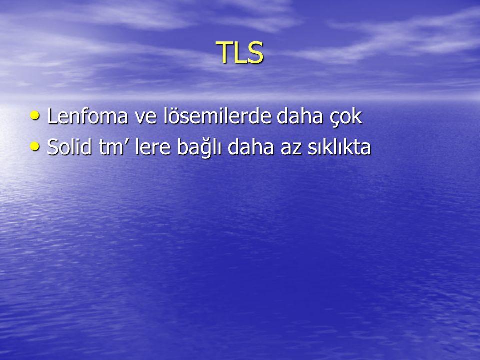 TLS Lenfoma ve lösemilerde daha çok Lenfoma ve lösemilerde daha çok Solid tm' lere bağlı daha az sıklıkta Solid tm' lere bağlı daha az sıklıkta