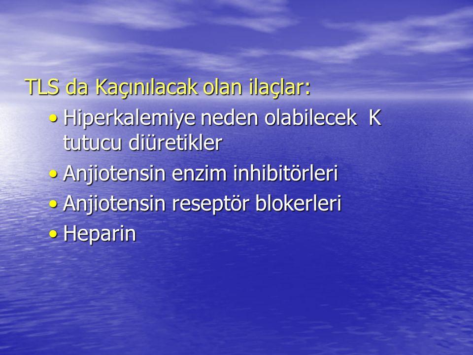 TLS da Kaçınılacak olan ilaçlar: Hiperkalemiye neden olabilecek K tutucu diüretiklerHiperkalemiye neden olabilecek K tutucu diüretikler Anjiotensin en