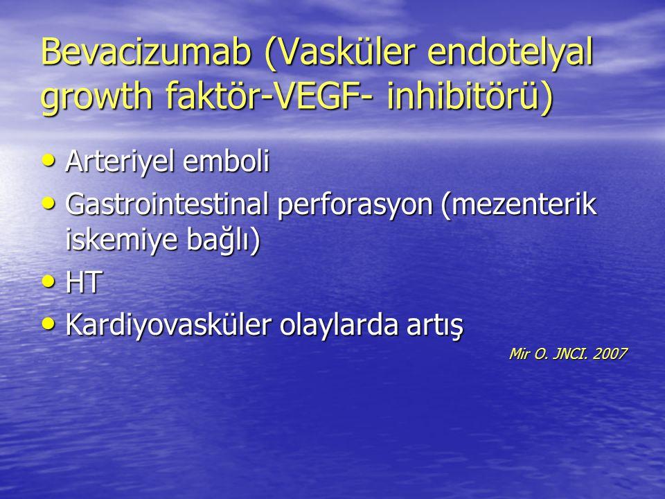 Bevacizumab (Vasküler endotelyal growth faktör-VEGF- inhibitörü) Arteriyel emboli Arteriyel emboli Gastrointestinal perforasyon (mezenterik iskemiye b