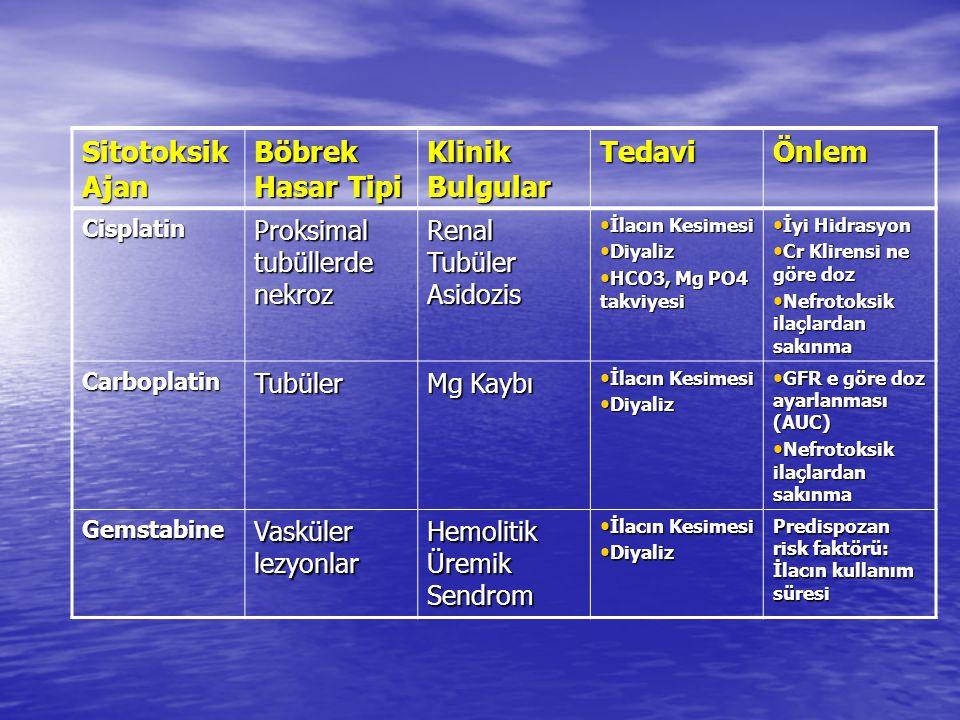 Kemoterapiye bağlı gelişen Komplikasyonlar Böbrek ve üriner sistem toksisiteleri Böbrek ve üriner sistem toksisiteleri Karaciğer ve gastrointestinal sistem toksisiteleri Karaciğer ve gastrointestinal sistem toksisiteleri Tümör lizis sendromu Tümör lizis sendromu Kemik iliği süpresyonu Kemik iliği süpresyonu Nötropenik ateş Nötropenik ateş Pulmoner toksisite Pulmoner toksisite Hedefe yönelik ilaçların toksisiteleri Hedefe yönelik ilaçların toksisiteleri