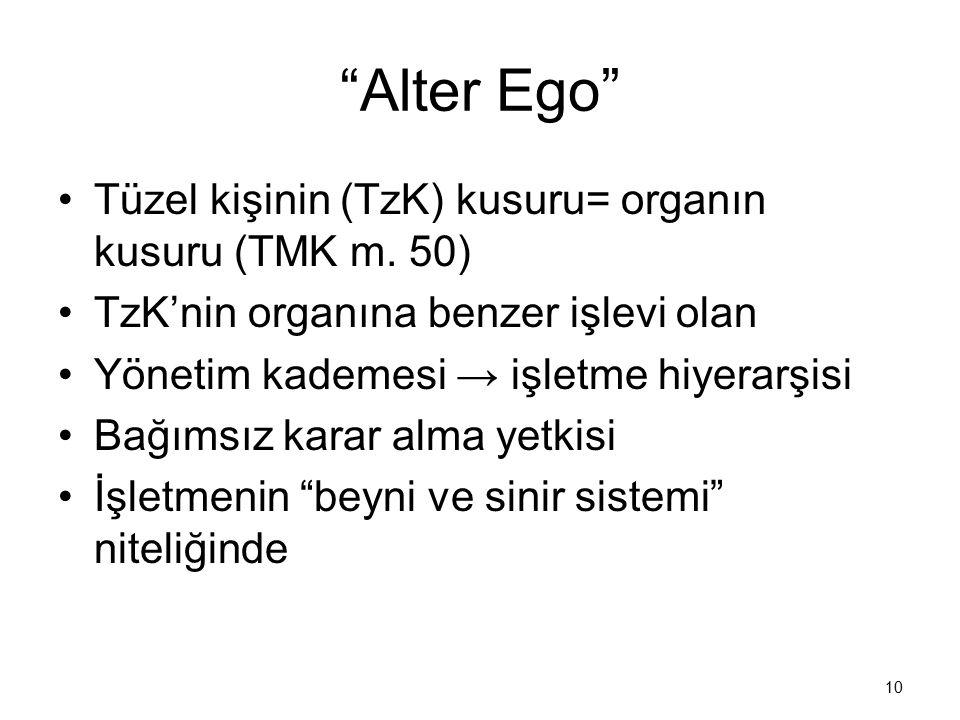 """""""Alter Ego"""" Tüzel kişinin (TzK) kusuru= organın kusuru (TMK m. 50) TzK'nin organına benzer işlevi olan Yönetim kademesi → işletme hiyerarşisi Bağımsız"""