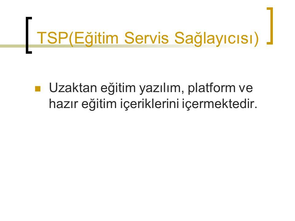 TSP(Eğitim Servis Sağlayıcısı) Uzaktan eğitim yazılım, platform ve hazır eğitim içeriklerini içermektedir.