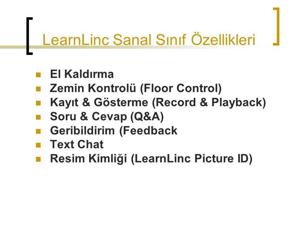 LearnLinc Sanal Sınıf Özellikleri El Kaldırma Zemin Kontrolü (Floor Control) Kayıt & Gösterme (Record & Playback) Soru & Cevap (Q&A) Geribildirim (Fee