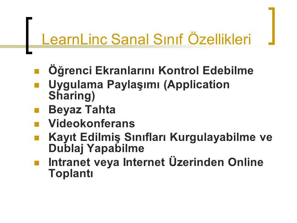 LearnLinc Sanal Sınıf Özellikleri Öğrenci Ekranlarını Kontrol Edebilme Uygulama Paylaşımı (Application Sharing) Beyaz Tahta Videokonferans Kayıt Edilm