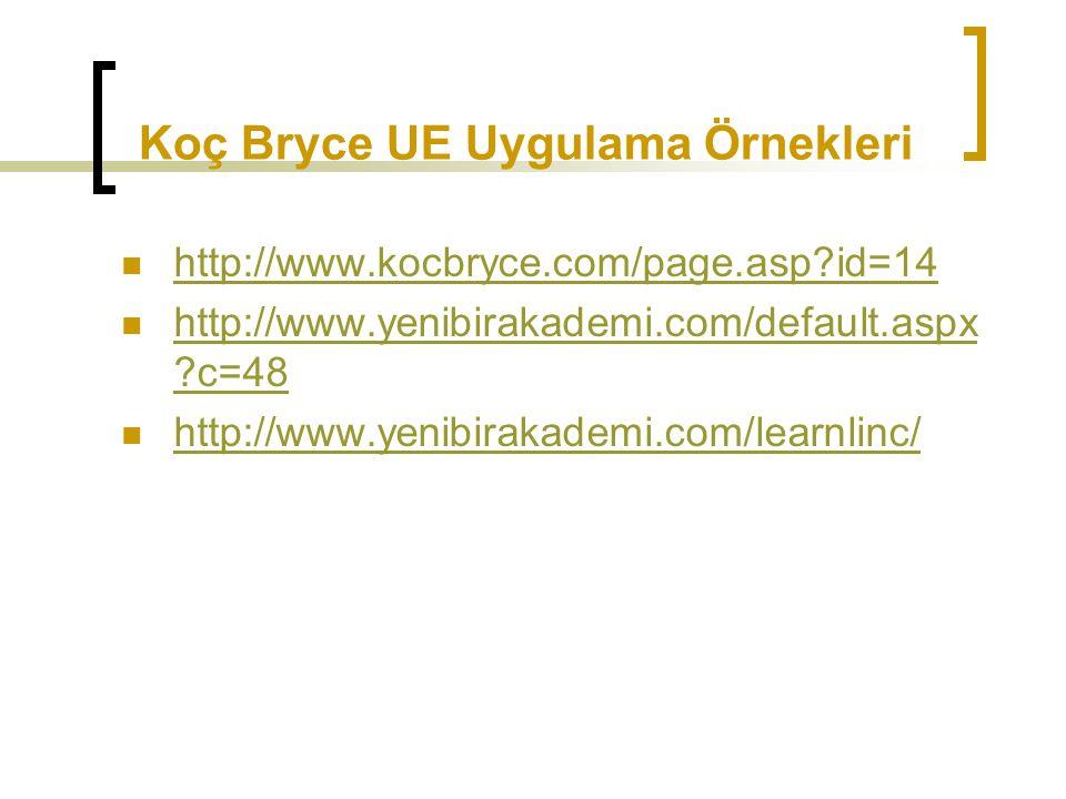 Koç Bryce UE Uygulama Örnekleri http://www.kocbryce.com/page.asp?id=14 http://www.yenibirakademi.com/default.aspx ?c=48 http://www.yenibirakademi.com/
