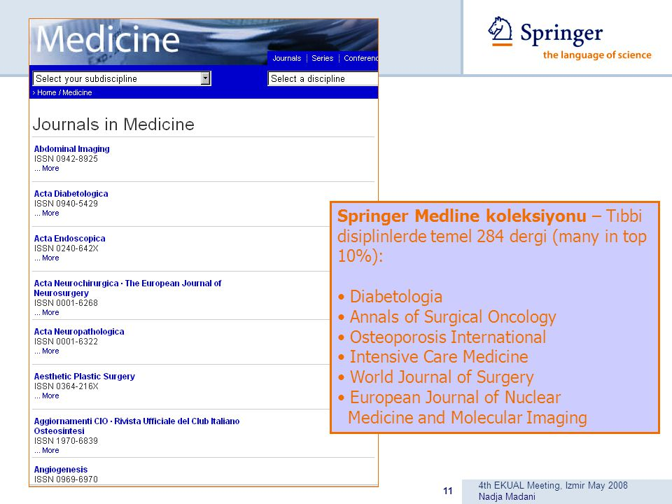 4th EKUAL Meeting, Izmir May 2008 Nadja Madani 11 Springer Medline koleksiyonu – Tıbbi disiplinlerde temel 284 dergi (many in top 10%): Diabetologia Annals of Surgical Oncology Osteoporosis International Intensive Care Medicine World Journal of Surgery European Journal of Nuclear Medicine and Molecular Imaging
