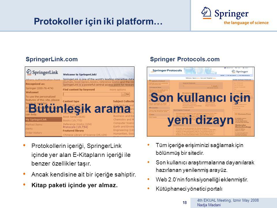 4th EKUAL Meeting, Izmir May 2008 Nadja Madani 18 SpringerLink.com Protokollerin içeriği, SpringerLink içinde yer alan E-Kitapların içeriği ile benzer özellikler taşır.