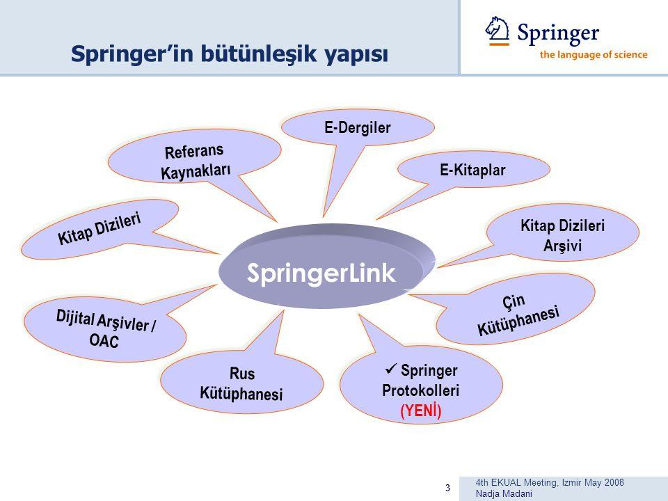 4th EKUAL Meeting, Izmir May 2008 Nadja Madani 3 Springer'in bütünleşik yapısı SpringerLink Çin Kütüphanesi E-Kitaplar Dijital Arşivler / OAC Rus Kütüphanesi Kitap Dizileri Referans Kaynakları E-Dergiler Kitap Dizileri Arşivi Springer Protokolleri (YENİ)