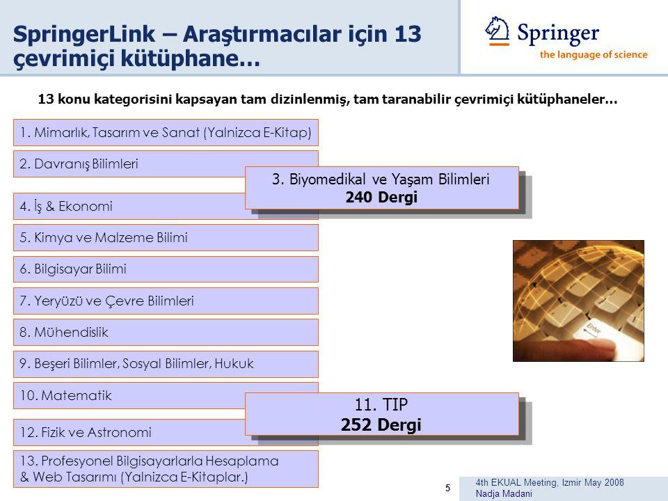 4th EKUAL Meeting, Izmir May 2008 Nadja Madani 5 SpringerLink – Araştırmacılar için 13 çevrimiçi kütüphane… 1.