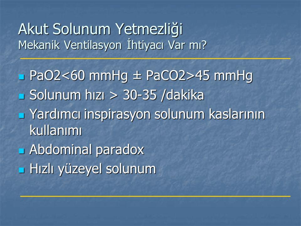 Akut Solunum Yetmezliği Mekanik Ventilasyon İhtiyacı Var mı? PaO2 45 mmHg PaO2 45 mmHg Solunum hızı > 30-35 /dakika Solunum hızı > 30-35 /dakika Yardı