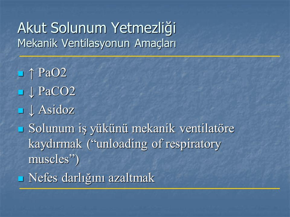 Akut Solunum Yetmezliği Mekanik Ventilasyonun Amaçları ↑ PaO2 ↑ PaO2 ↓ PaCO2 ↓ PaCO2 ↓ Asidoz ↓ Asidoz Solunum iş yükünü mekanik ventilatöre kaydırmak