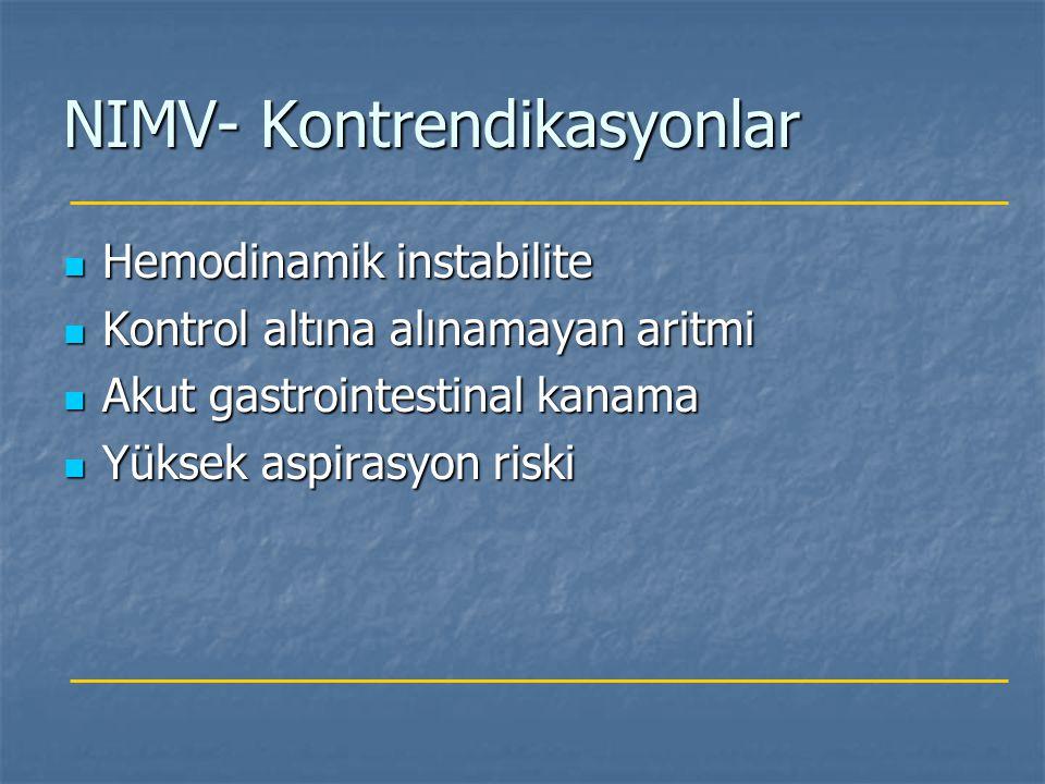 NIMV- Kontrendikasyonlar Hemodinamik instabilite Hemodinamik instabilite Kontrol altına alınamayan aritmi Kontrol altına alınamayan aritmi Akut gastro