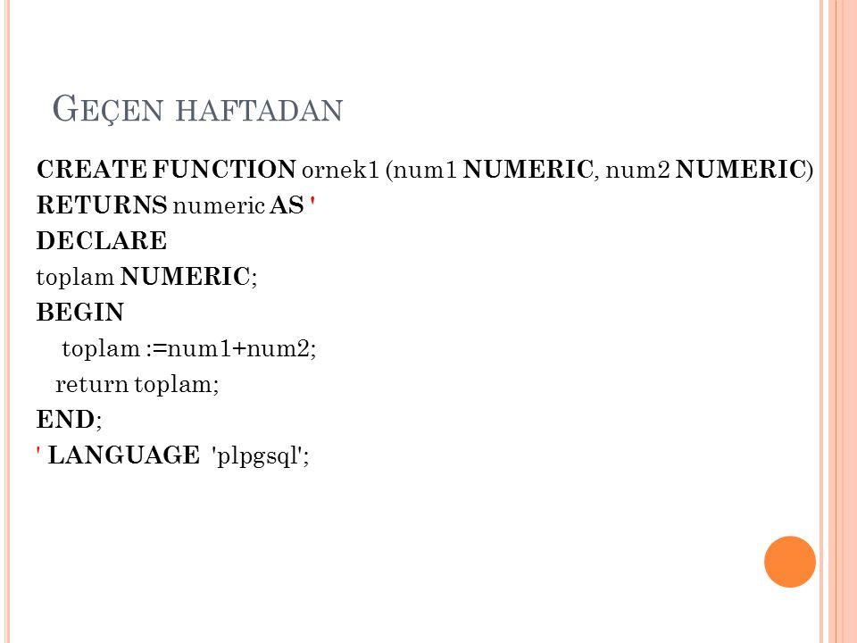 SELECT ornek3(6); DROP FUNCTION ornek3(numeric);