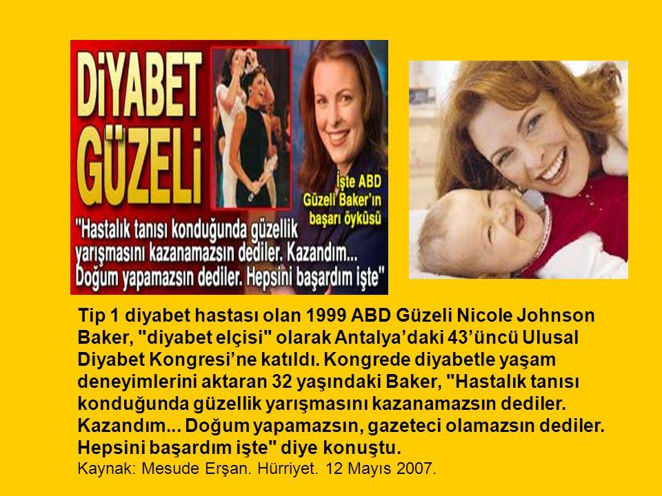 Tip 1 diyabet hastası olan 1999 ABD Güzeli Nicole Johnson Baker, diyabet elçisi olarak Antalya'daki 43'üncü Ulusal Diyabet Kongresi'ne katıldı.