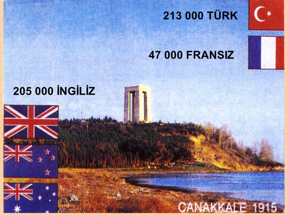 213 000 TÜRK 205 000 İNGİLİZ 47 000 FRANSIZ