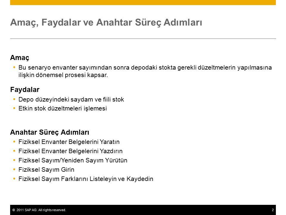 ©2011 SAP AG. All rights reserved.2 Amaç, Faydalar ve Anahtar Süreç Adımları Amaç  Bu senaryo envanter sayımından sonra depodaki stokta gerekli düzel
