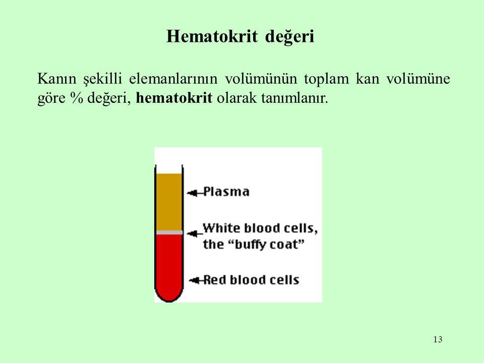 13 Hematokrit değeri Kanın şekilli elemanlarının volümünün toplam kan volümüne göre % değeri, hematokrit olarak tanımlanır.