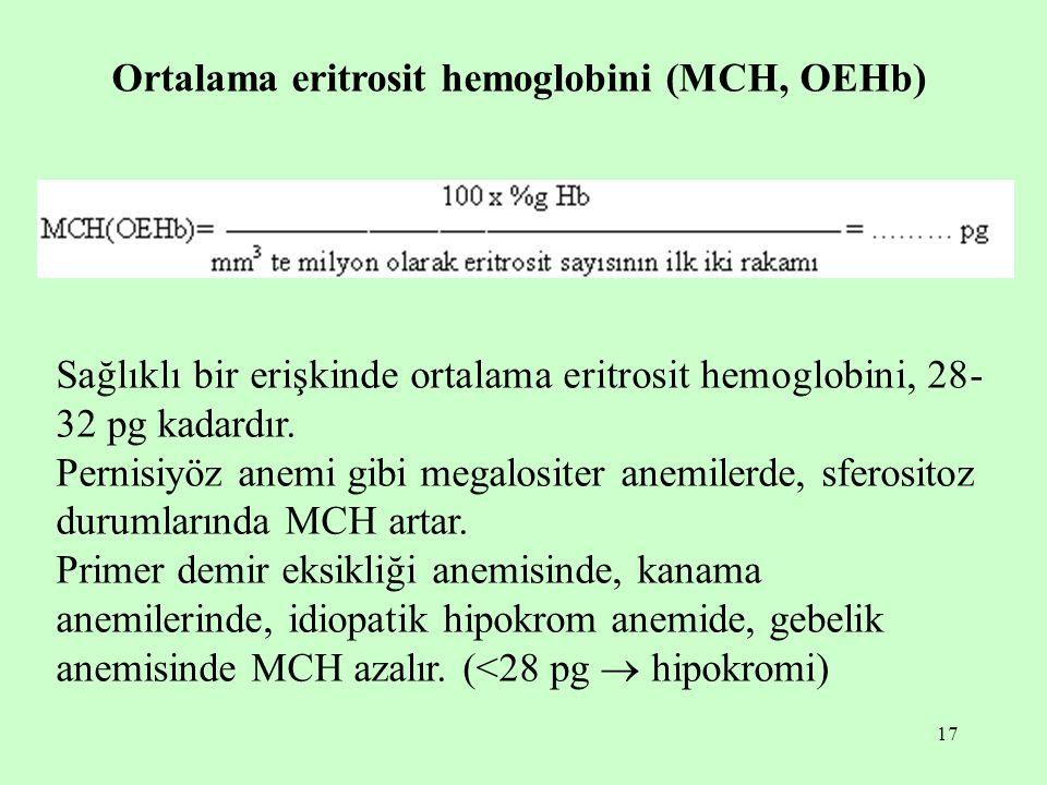 17 Ortalama eritrosit hemoglobini (MCH, OEHb) Sağlıklı bir erişkinde ortalama eritrosit hemoglobini, 28- 32 pg kadardır. Pernisiyöz anemi gibi megalos