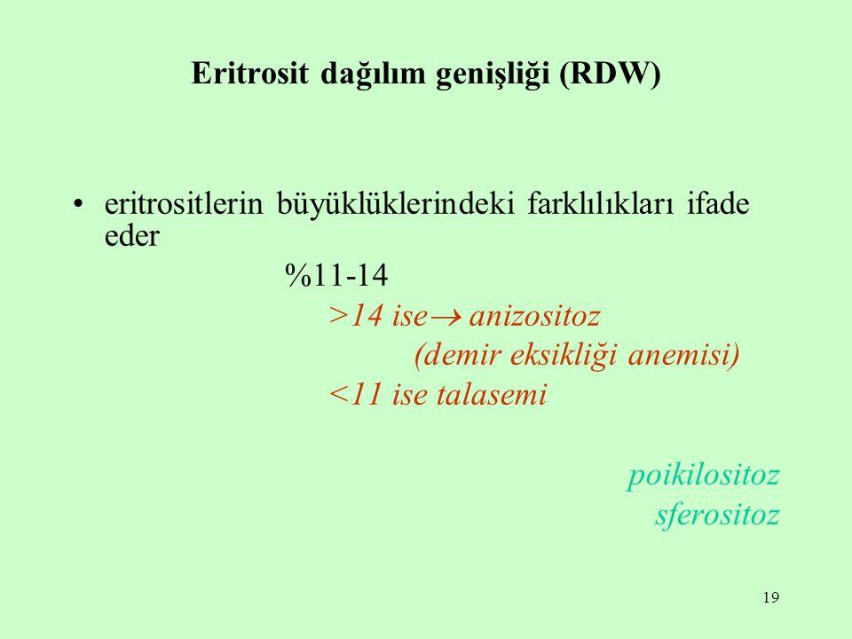 19 Eritrosit dağılım genişliği (RDW) eritrositlerin büyüklüklerindeki farklılıkları ifade eder %11-14 >14 ise  anizositoz (demir eksikliği anemisi) <