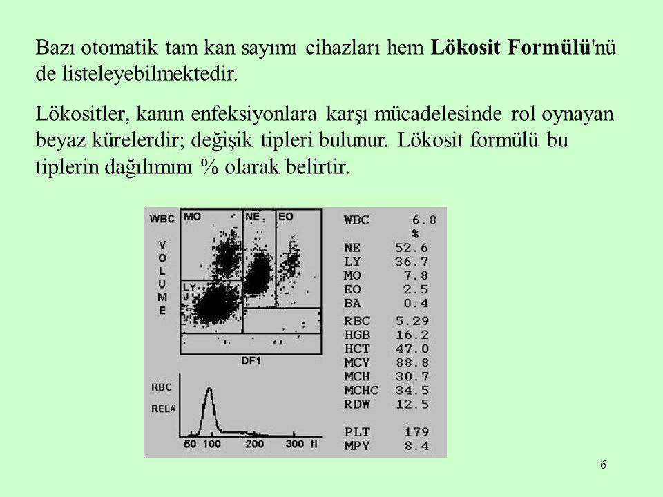 6 Bazı otomatik tam kan sayımı cihazları hem Lökosit Formülü'nü de listeleyebilmektedir. Lökositler, kanın enfeksiyonlara karşı mücadelesinde rol oyna