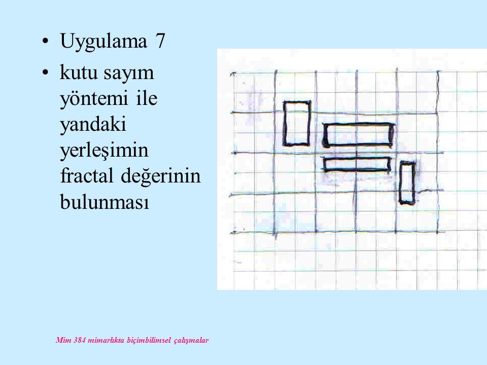 Mim 384 mimarlıkta biçimbilimsel çalışmalar Uygulama 7 kutu sayım yöntemi ile yandaki yerleşimin fractal değerinin bulunması