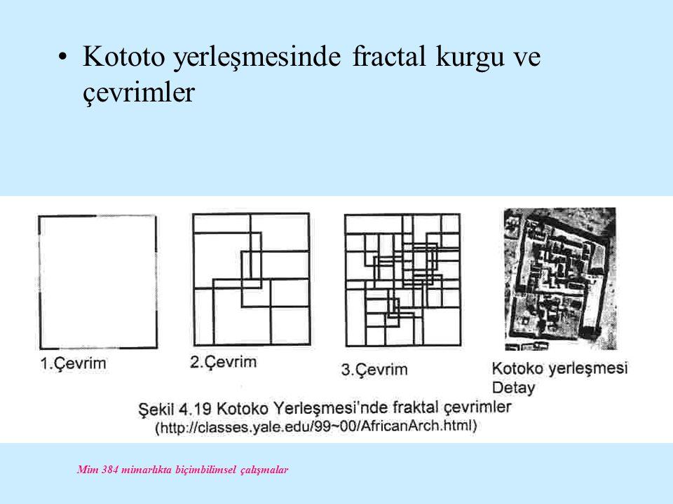 Mim 384 mimarlıkta biçimbilimsel çalışmalar Kototo yerleşmesinde fractal kurgu ve çevrimler