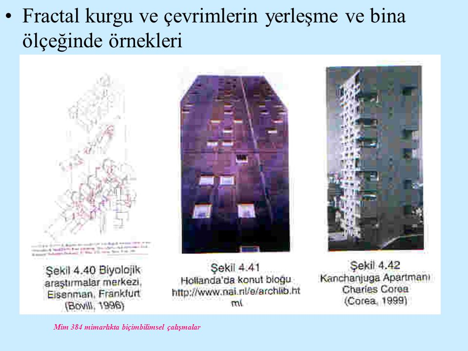 Mim 384 mimarlıkta biçimbilimsel çalışmalar Fractal kurgu ve çevrimlerin yerleşme ve bina ölçeğinde örnekleri
