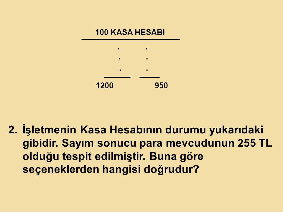 100 KASA HESABI....1200 950 2.K 2.İşletmenin Kasa Hesabının durumu yukarıdaki gibidir.