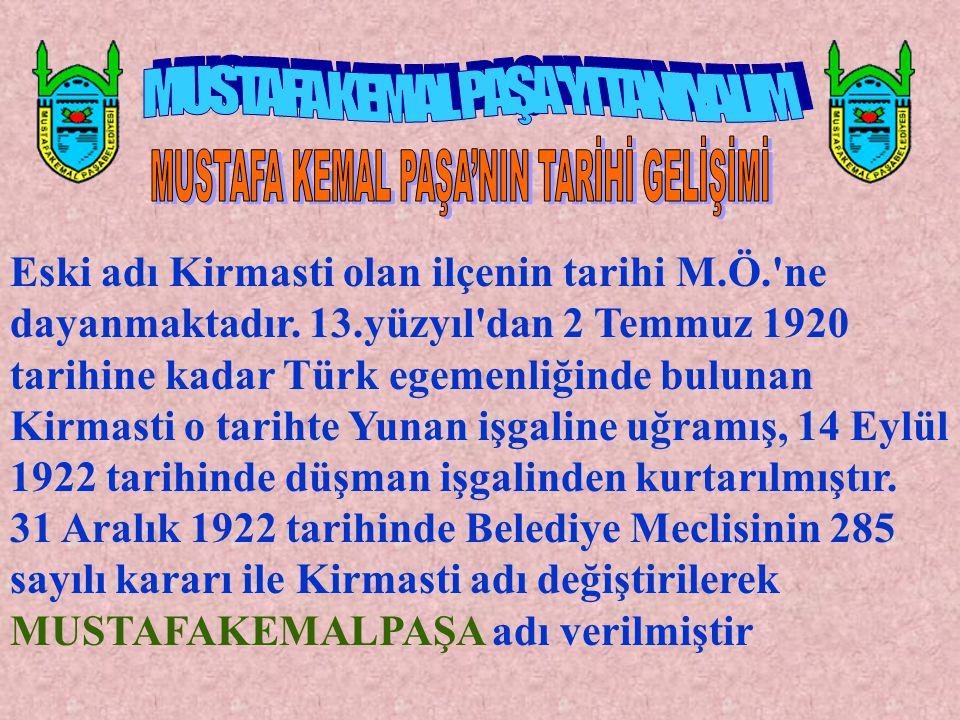 Eski adı Kirmasti olan ilçenin tarihi M.Ö.'ne dayanmaktadır. 13.yüzyıl'dan 2 Temmuz 1920 tarihine kadar Türk egemenliğinde bulunan Kirmasti o tarihte