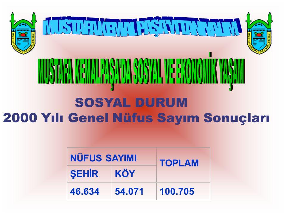 SOSYAL DURUM 2000 Yılı Genel Nüfus Sayım Sonuçları NÜFUS SAYIMI TOPLAM ŞEHİRKÖY 46.63454.071100.705