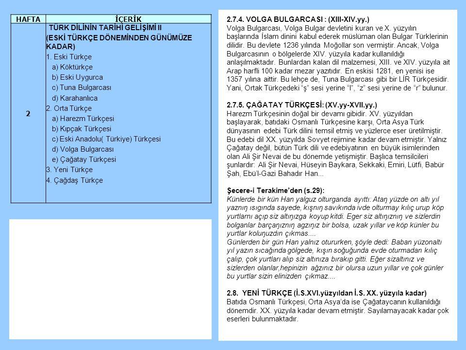 2.7.4.VOLGA BULGARCASI : (XIII-XIV.yy.) Volga Bulgarcası, Volga Bulgar devletini kuran ve X.