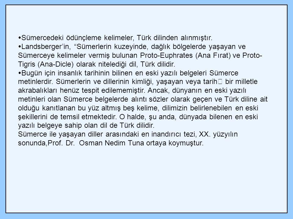  Sümercedeki ödünçleme kelimeler, Türk dilinden alınmıştır.