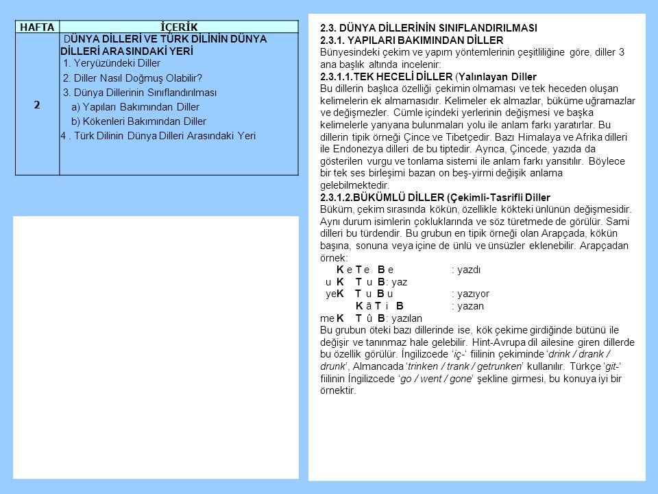 2.3.DÜNYA DİLLERİNİN SINIFLANDIRILMASI 2.3.1.