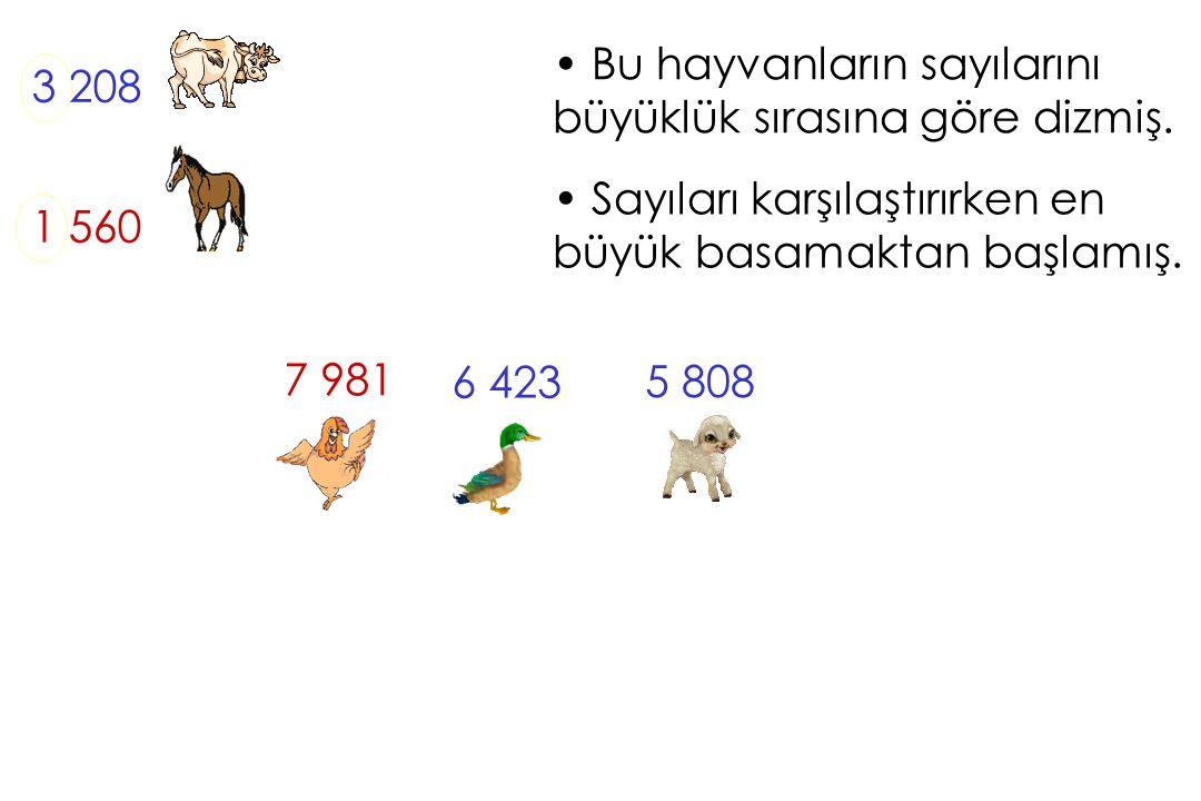 Bu hayvanların sayılarını büyüklük sırasına göre dizmiş. 3 208 1 560 Sayıları karşılaştırırken en büyük basamaktan başlamış. 5 808 7 981 6 423