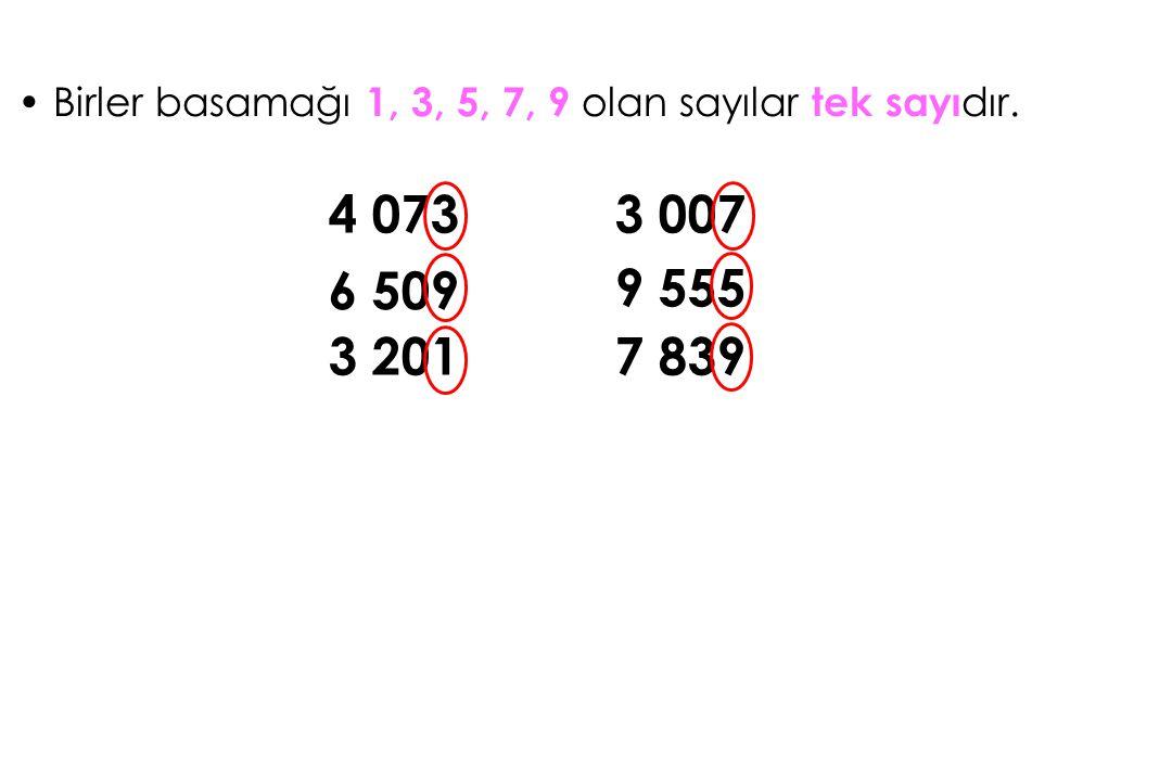 Birler basamağı 1, 3, 5, 7, 9 olan sayılar tek sayı dır. 4 073 6 509 3 201 3 007 9 555 7 839