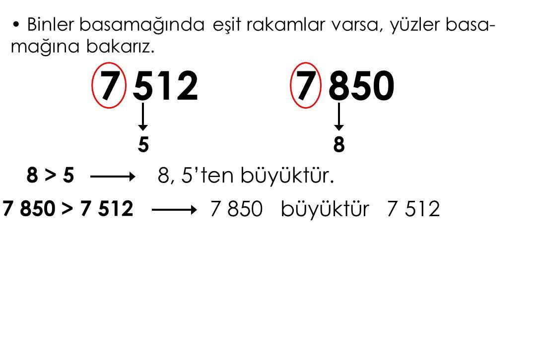 Binler basamağında eşit rakamlar varsa, yüzler basa- mağına bakarız. 7 512 58 7 850 8 > 5 8, 5'ten büyüktür. 7 850 > 7 512 7 850 büyüktür 7 512