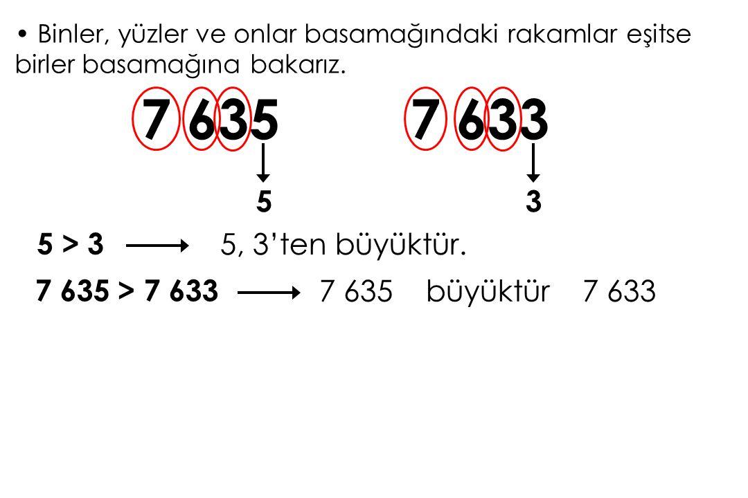 Binler, yüzler ve onlar basamağındaki rakamlar eşitse birler basamağına bakarız. 7 635 53 7 633 5 > 3 5, 3'ten büyüktür. 7 635 > 7 633 7 635 büyüktür