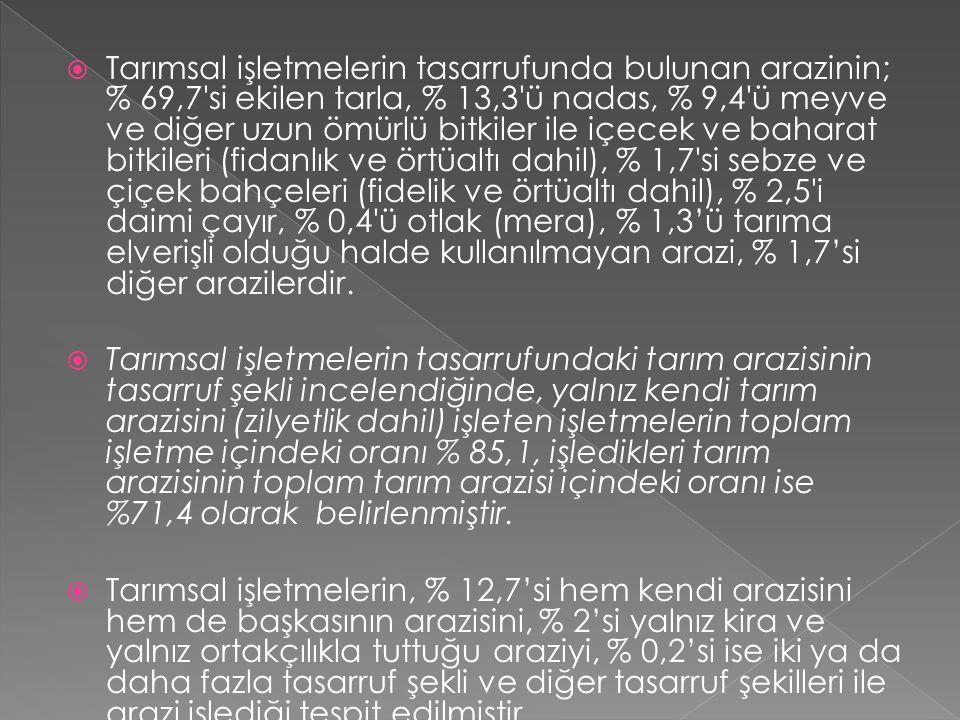  Türkiye'de 1950 yılında 2.2 milyon adet olan tarım işletmesi, 1980 yılında 3.5 milyona, 1990 yılında 3.9 milyona çıkmış, 2001 yılında ise 3 milyon olarak tespit edilmiştir.