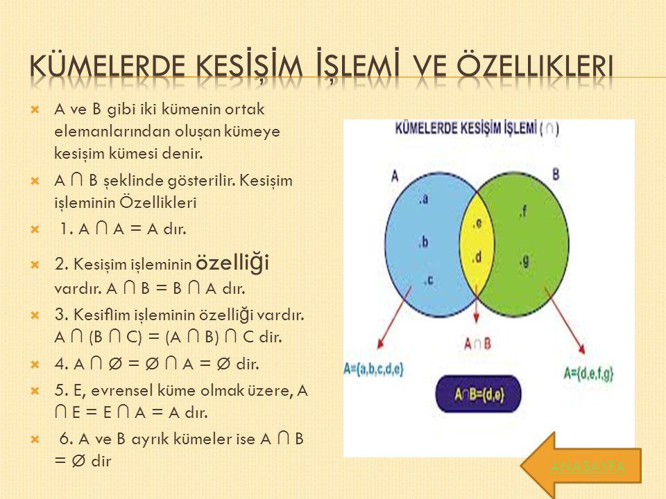  A ve B gibi iki kümenin ortak elemanlarından oluşan kümeye kesişim kümesi denir.
