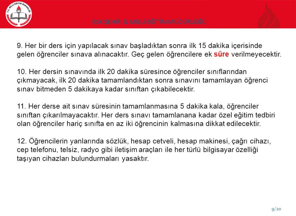 ESKİŞEHİR İL MİLLİ EĞİTİM MÜDÜRLÜĞÜ 10/20 13.