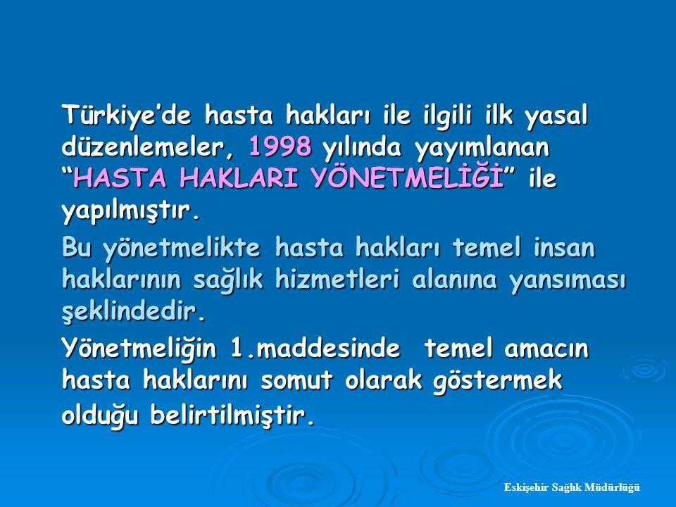 Eskişehir Sağlık Müdürlüğü Türkiye'de hasta hakları ile ilgili ilk yasal düzenlemeler, 1998 yılında yayımlanan HASTA HAKLARI YÖNETMELİĞİ ile yapılmıştır.
