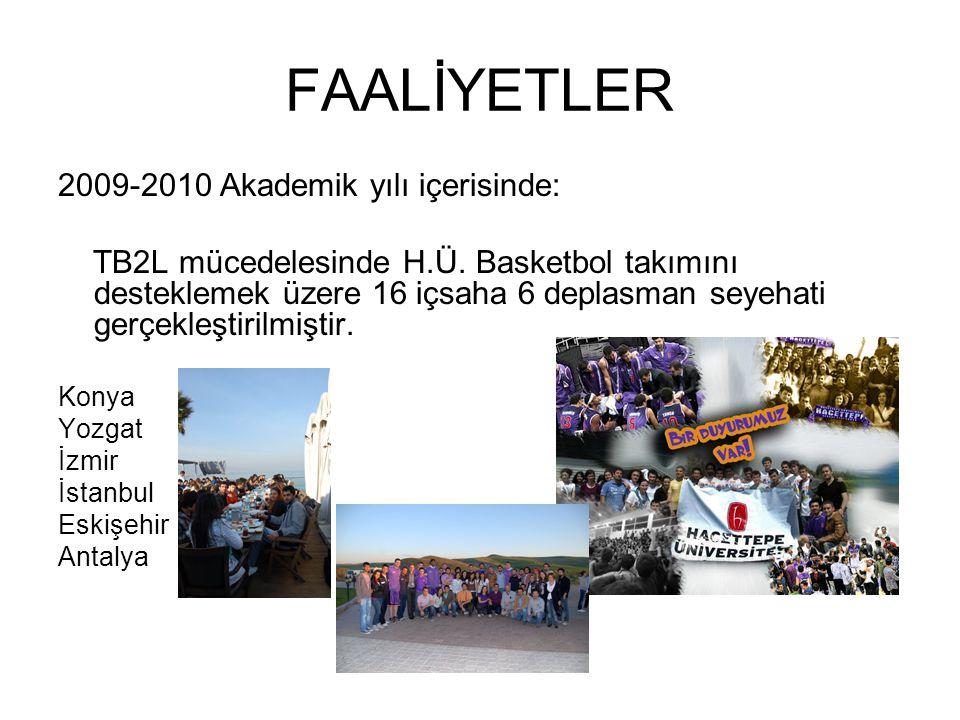 FAALİYETLER 2009-2010 Akademik yılı içerisinde: TB2L mücedelesinde H.Ü.