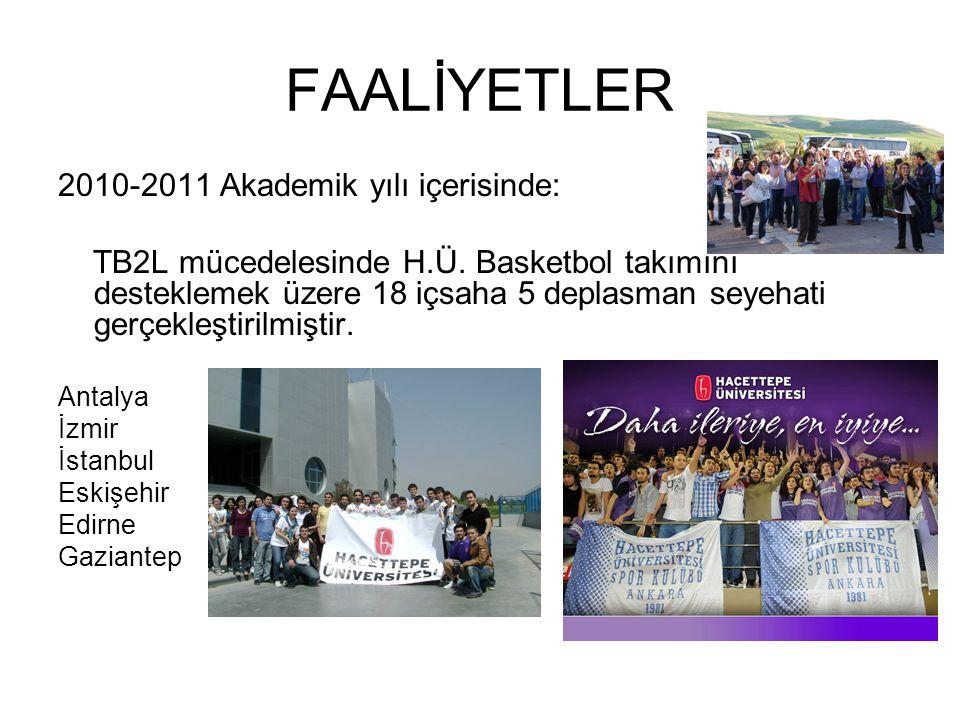 FAALİYETLER 2010-2011 Akademik yılı içerisinde: TB2L mücedelesinde H.Ü.